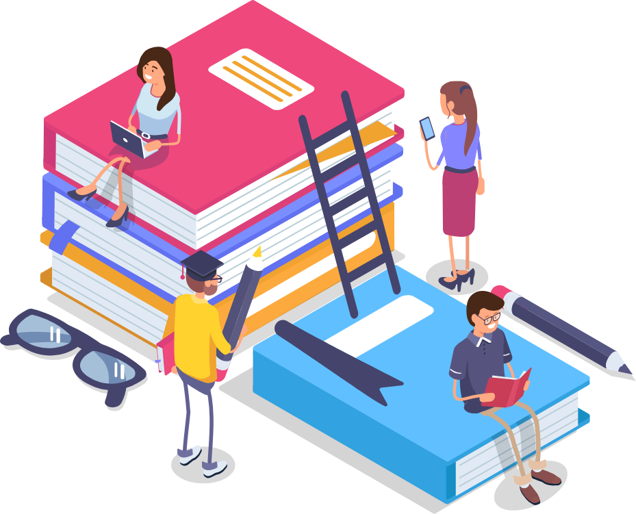 Illustration of people sitting on larger-than-life books and talking.